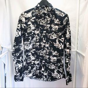 ZARA MAN Punk Graphic Button Up Shirt Sz S